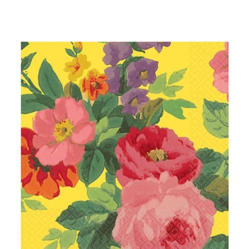 Serviettes de table, roses lumineuses, jaune