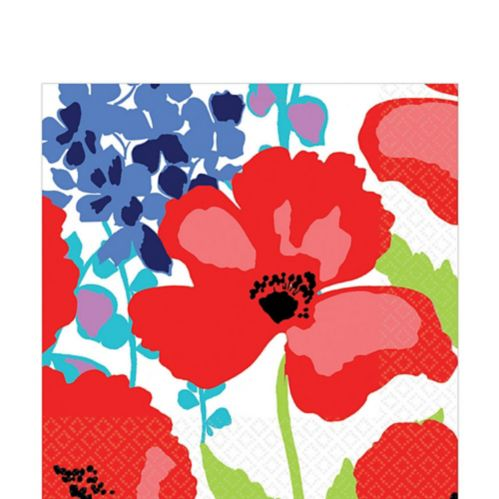 Floral Explosions Lunch Napkins, Royal Blue