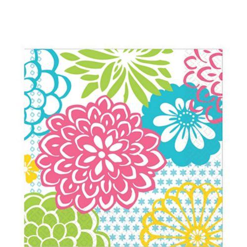 Serviettes de table, feux d'artifice/fleurs, vert