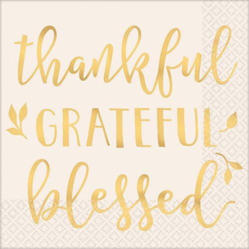 Serviettes de table « Thankful Grateful Blessed », paq. 16