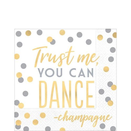 Metallic Gold & Silver You Can Dance Lunch Napkins, 16-pk