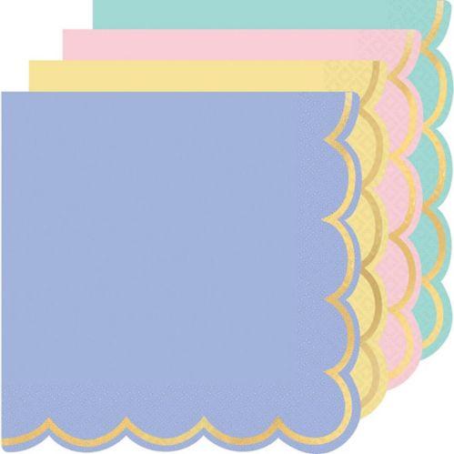 Serviettes de table pastel à bordure dorée métallisée, paq. 16 Image de l'article