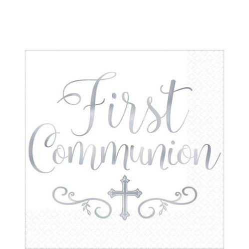 Serviettes de table de première communion en argent métallisé, paq. 16