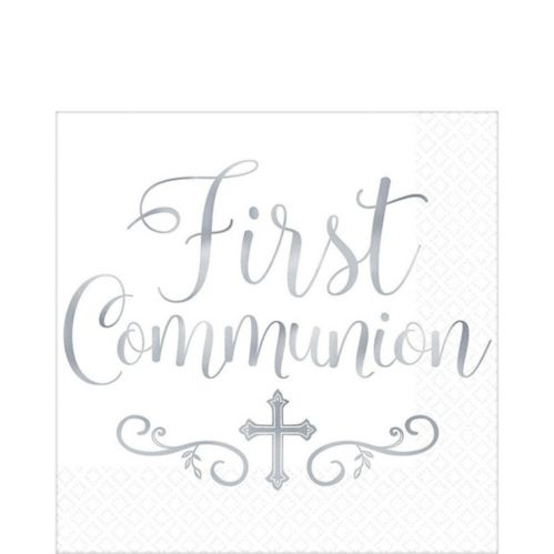 Metallic Silver First Communion Lunch Napkins, 16-pk