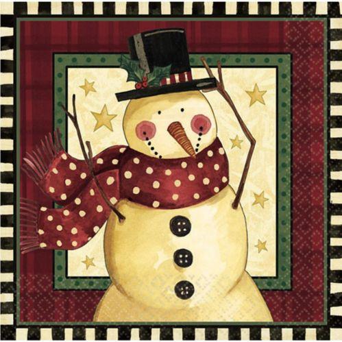 Serviettes de table à motif de bonhomme de neige chaleureux, paq. 16