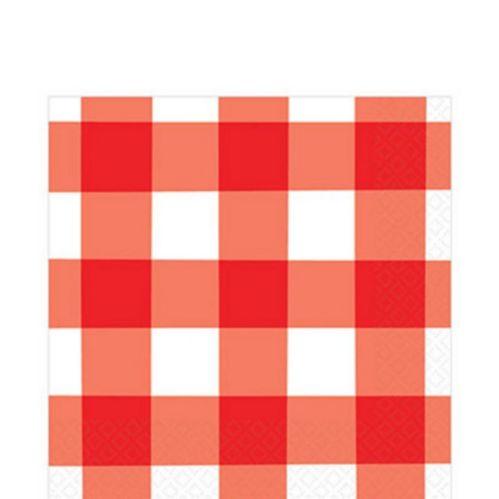 Serviettes de table à motif de guingan, Été américain, rouge, paq. 16