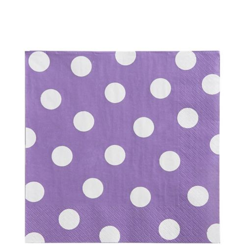 Serviettes de table à pois à motif lilas