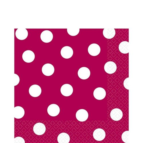 Raspberry Dot Lunch Napkins, 16-pk
