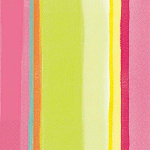 Serviettes de table à rayures roses, paq. 16