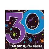 The Party Continues 30th Birthday Lunch Napkins, 16-pk
