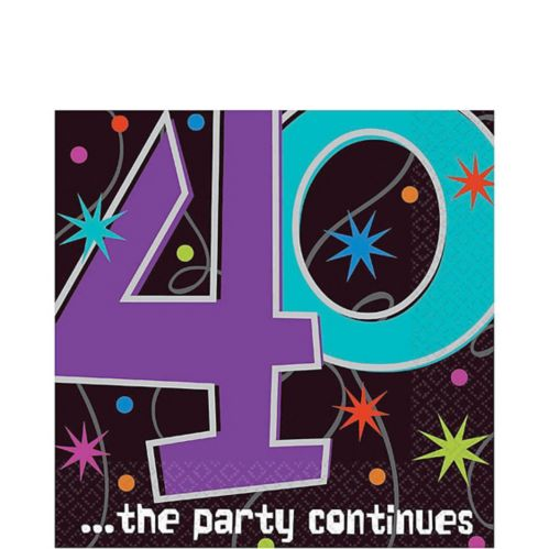 The Party Continues 40th Birthday Lunch Napkins, 16-pk
