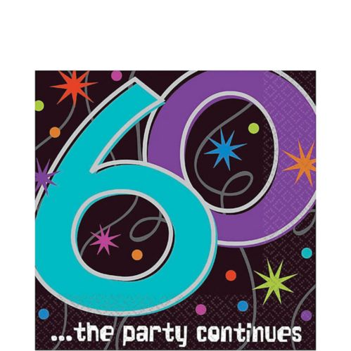 The Party Continues 60th Birthday Lunch Napkins, 16-pk