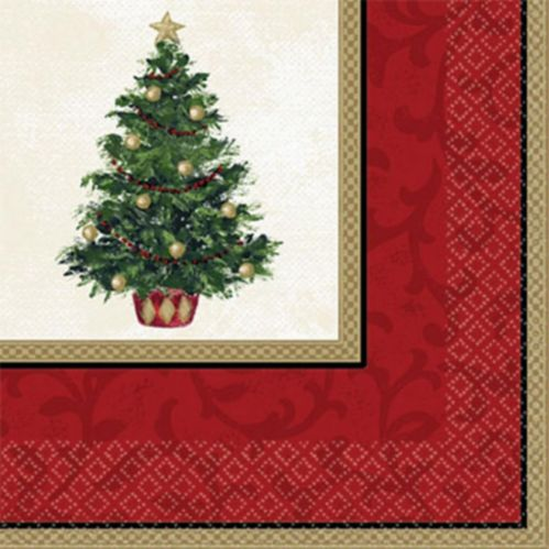 Serviettes de table à motif d'arbre de Noël classique, paq. 16