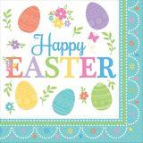 Serviettes de table de Pâques à motif d'oeufs, paq. 16
