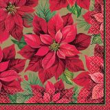 Serviettes de table à motif de poinsettia des Fêtes, paq. 16