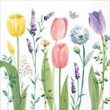 Serviettes de table à motif de jardin de tulipes, paq. 16