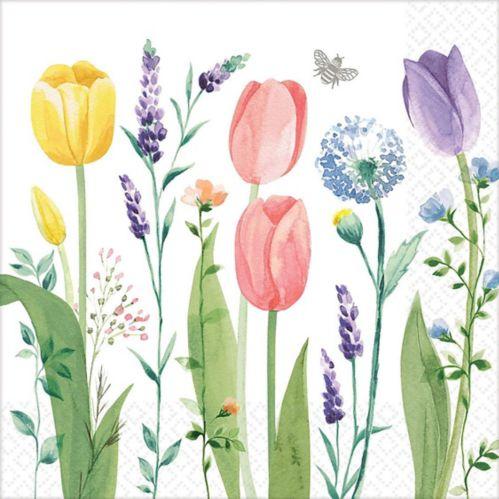 Serviettes de table à motif de jardin de tulipes, paq. 16 Image de l'article