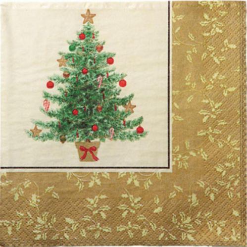 Serviettes de table à motif d'arbre de Noël de style victorien, paq. 16