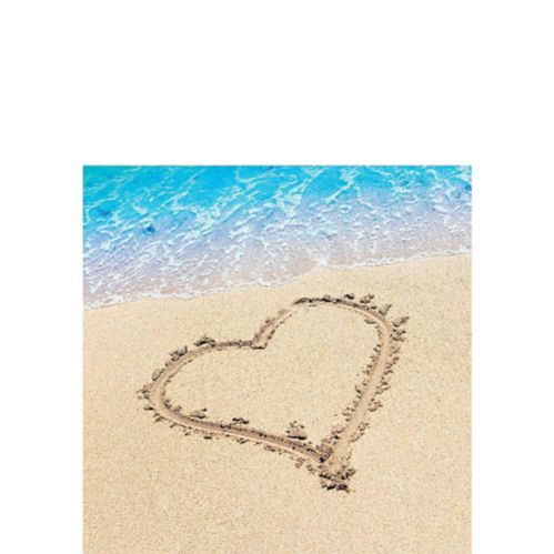 Beach Love Wedding Beverage Napkins, 16-pk