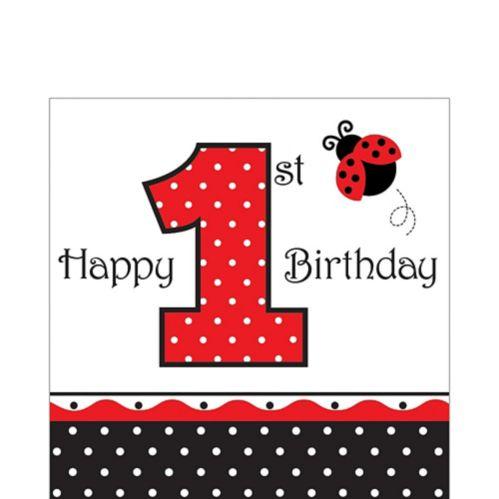Ladybug Fancy 1st Birthday Napkins, 16-pk