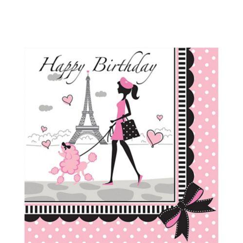 Pink Paris Birthday Lunch Napkins, 16-pk