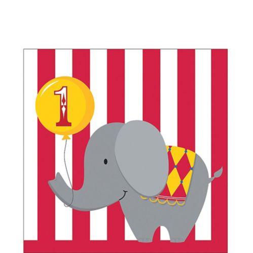 Circus 1st Birthday Napkins, 16-pk