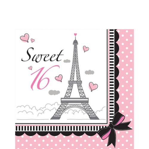 Serviettes de table Paris rose, Sweet 16, paq. 16