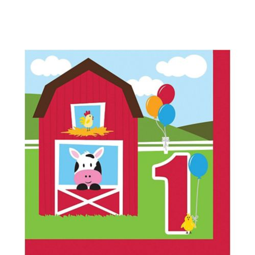 Farm Fun 1st Birthday Napkins, 16-pk