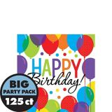 Rainbow Balloon Bash Birthday Beverage Napkins, 125-pk
