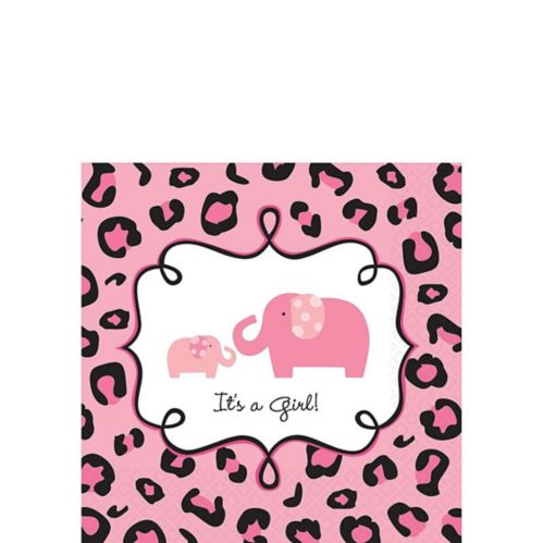 Pink Safari Baby Shower Beverage Napkins, 36-pk