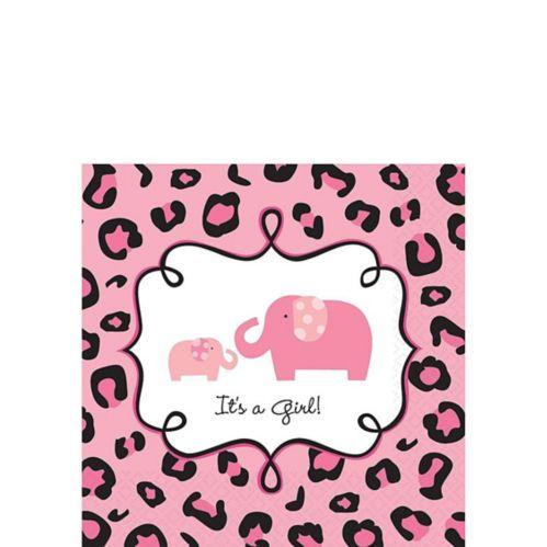 Serviettes de table pour boisson pour fête prénatale à thème safari, rose, paq. 36