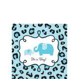 Serviettes de table pour boisson pour fête prénatale à thème safari, bleu, paq. 36