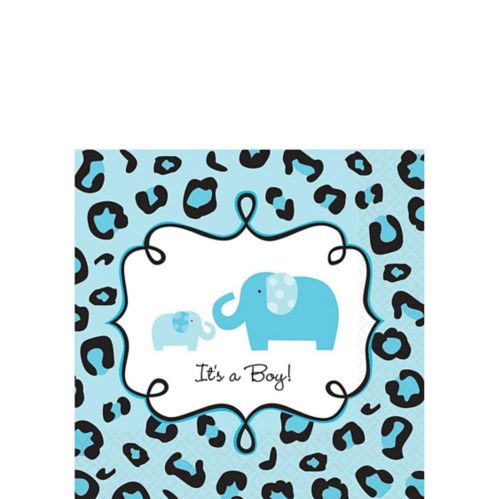 Blue Safari Baby Shower Beverage Napkins, 36-pk