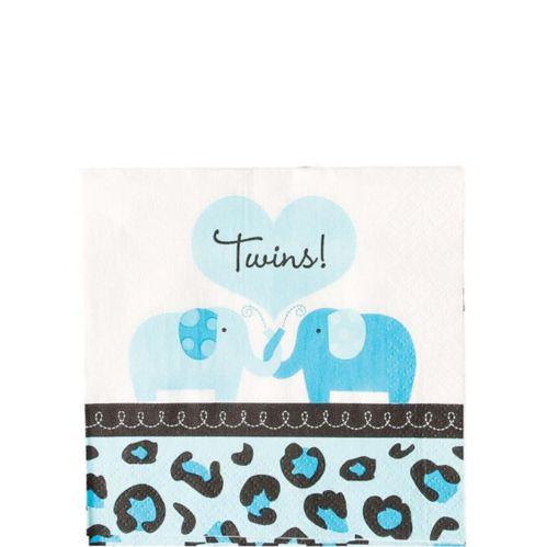 Serviettes de table pour boisson pour la fête prénatale des jumeaux à thème safari, bleu, paq. 36