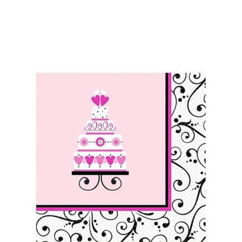 Serviettes à boissons Mariage doux, rose, paq. 36