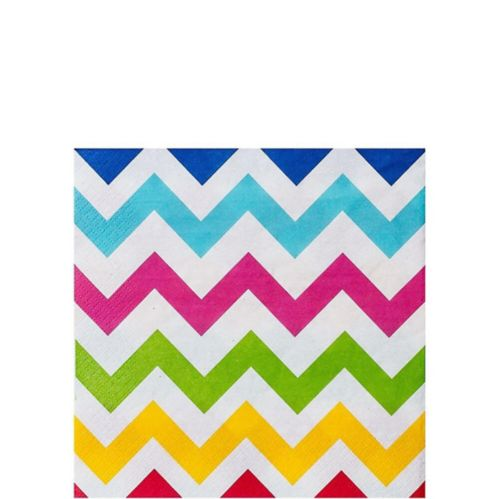 Bright Rainbow Chevron Beverage Napkins, 36-pk
