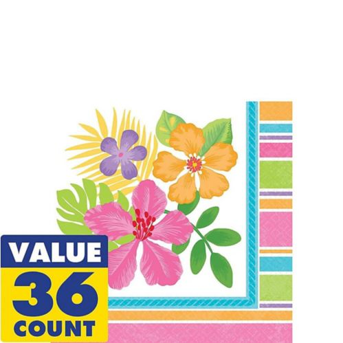 Colourful Hibiscus Beverage Napkins, 36-pk