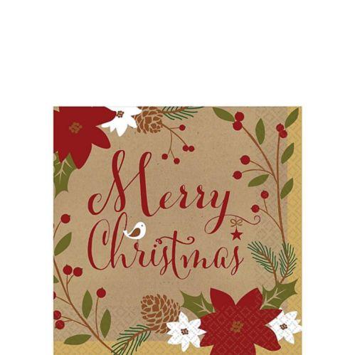 Merry Little Christmas Kraft Beverage Napkins, 36-pk