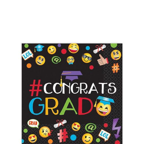 Smiley Graduation Beverage Napkins, 125-pk Product image
