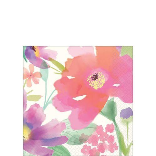Serviettes à boissons à motif de fleur à l'aquarelle, paq. 36