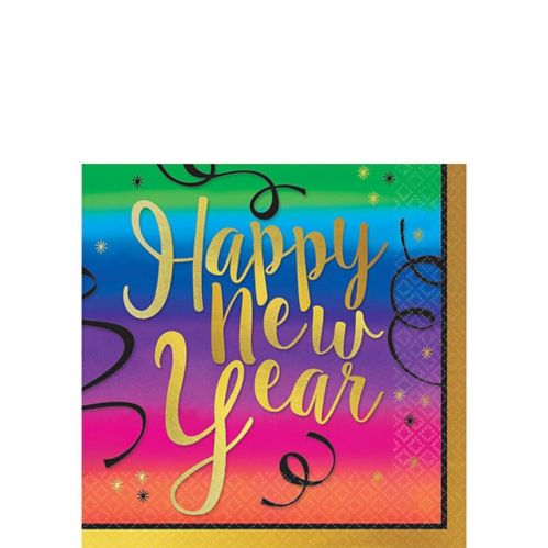 Colourful New Year's Beverage Napkins, 36-pk