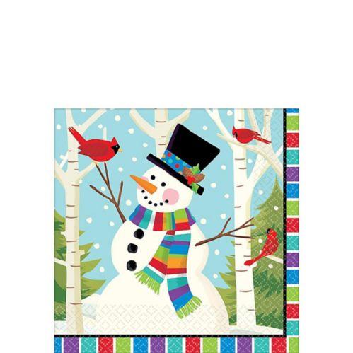 Serviettes de table pour boisson de bonhomme de neige coloré, paq. 125 Image de l'article