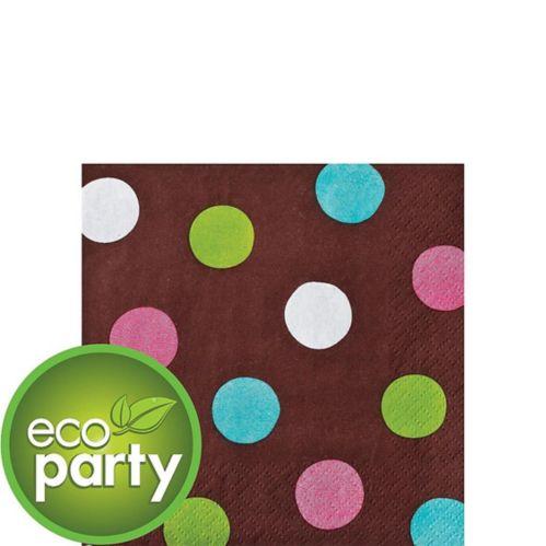 Serviettes de table pour boissons à pois et chocolat, paq. 36