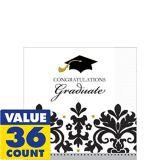 Serviettes à boissons Remise des diplômes, noir et blanc, paq. 36