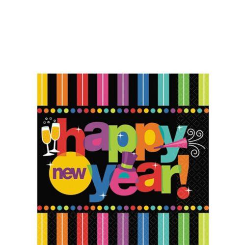 Serviettes de table pour boissons pour le Nouvel An, couleurs vives, paq. 125 Image de l'article