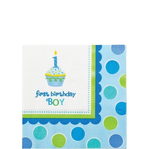 Cupcake 1st Birthday Boy Beverage Napkins, 36-pk