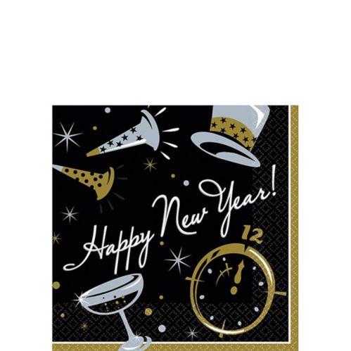 Black Tie New Year's Beverage Napkins, 100-pk Product image