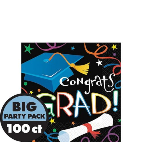 Grad Celebration Graduation Beverage Napkins, 100-pk