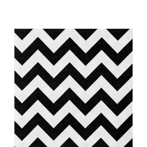 Black & White Chevron Lunch Napkins, 36-pk