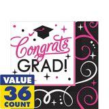 Serviettes de table Congrats Grad scintillantes, paq. 36